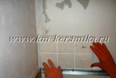 Укладка плитки на кухонный фартук без предварительной подготовки стены
